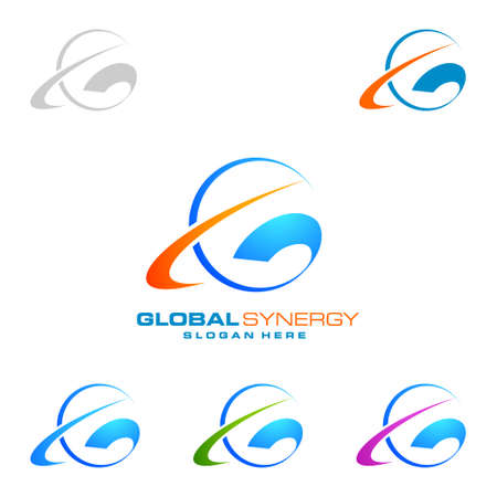 Global logo with ring sphere and digital world motion vector logo design Stock Illustratie