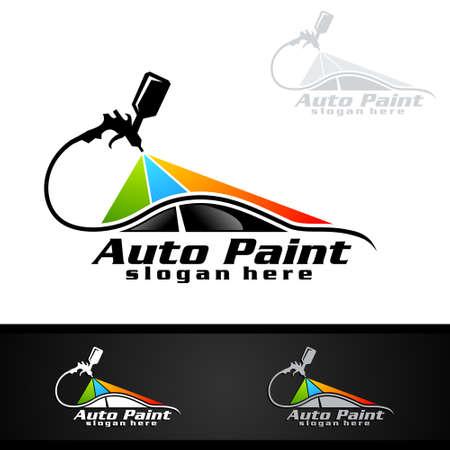 Auto schilderij Logo met spuitpistool en Sport Car Concept