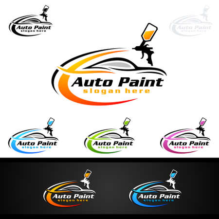 Car Painting Logo with Spray Gun and Sport Car Concept Stok Fotoğraf - 104011632