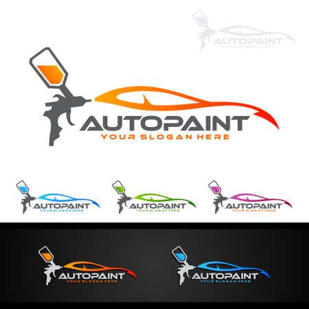 Auto schilderij Logo met spuitpistool en Sport Car Concept Logo