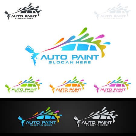 Car Painting Logo with Spray Gun and Sport Car Concept 免版税图像 - 104011651