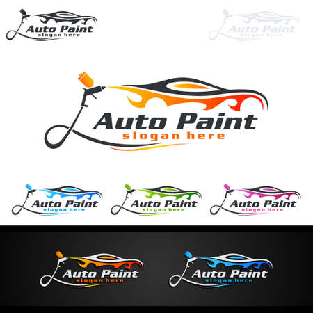 Car Painting Logo with Spray Gun and Sport Car Concept