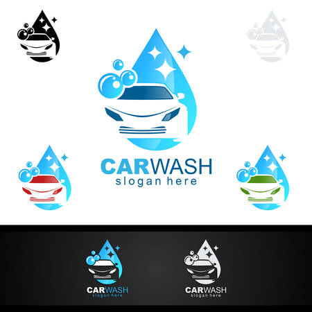 Car Wash Logo, Cleaning Car, Washing and Service Vector Logo Design Ilustracja