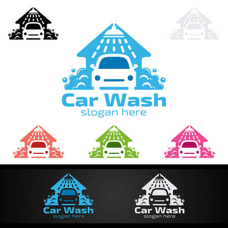 Car Wash Logo, Cleaning Car, Washing and Service Vector Logo Design Иллюстрация