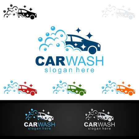 Car Wash Logo, Cleaning Car, Washing and Service Vector Logo Design Illustration