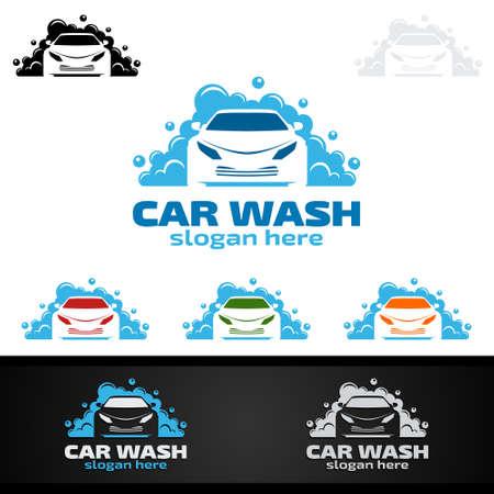 Car Wash Logo, Cleaning Car, Washing and Service Vector Logo Design 矢量图像