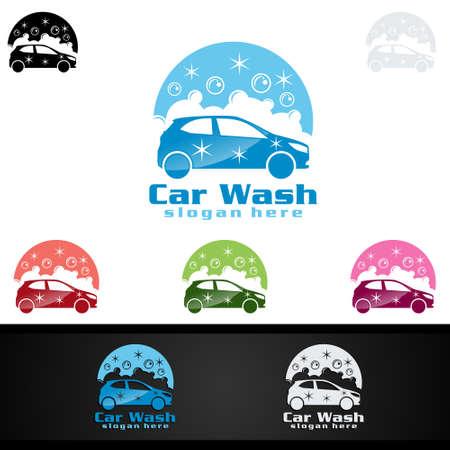 Car Wash Logo, Cleaning Car, Washing and Service Vector Logo Design Illustration
