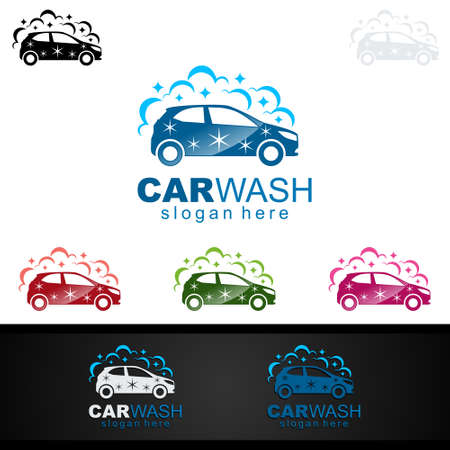 Car Wash Logo, Cleaning Car, Washing and Service Vector Logo Design Stock Illustratie