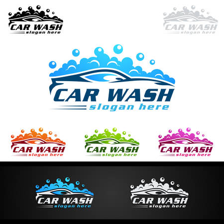 Car Wash Logo, Cleaning Car, Washing and Service Vector Logo Design Иллюстрация