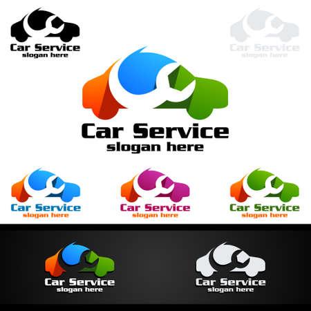 Car Service Vector Logo Design with Auto Repair Shape and Car Concept