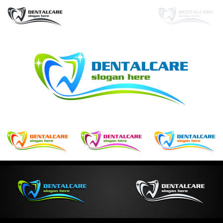 Dental Logo Tooth abstract design vector template, Dentist stomatology medical doctor Logotype concept icon