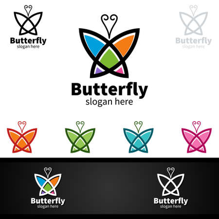 Butterfly Colors Logo Illustration