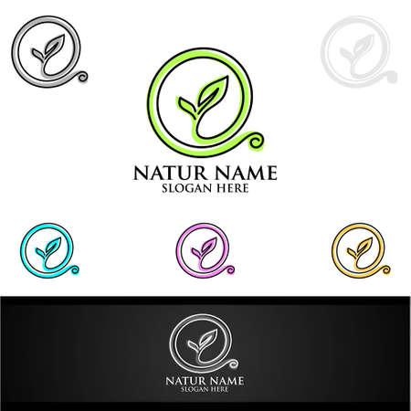 Logotipo de yoga y flor de loto con concepto de spa de salud y silueta humana Logos
