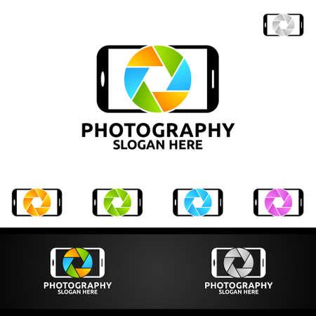 Modello di progettazione di vettore dell'icona di logo di fotografia astratta della macchina fotografica
