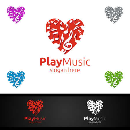 Love Music Logo with Note and Play Concept