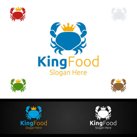King Crab Seafood Logo for Restaurant or Cafe