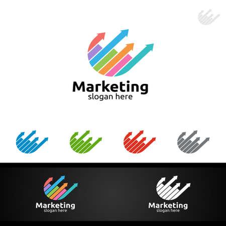 Marketing Financial Advisor Vector Logo Design Template Icon