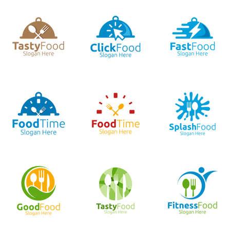 Szablon Logo zdrowej żywności. Organiczny wektor Design.for Menu restauracji lub kawiarni, widelec, łyżka i liści Concept