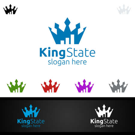 King Marketing Financial Advisor Logo Design Template Icon Ilustrace