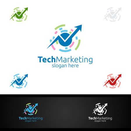 Tech Marketing Financial Advisor Logo Design Template Icon 로고
