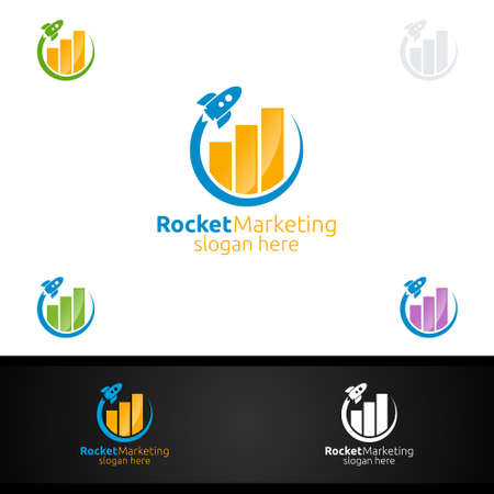Rocket Marketing Financial Advisor Logo Design Template Icon
