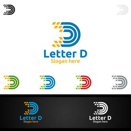 Letter D for Digital Marketing Financial Advisor or Invest Vector Logo Design Icon Ilustração