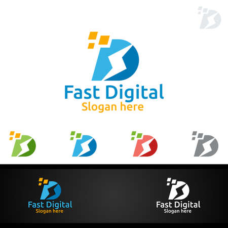 Fast Digital Letter D for Digital Marketing Financial Advisor or Invest Vector Logo Design Icon Ilustrace