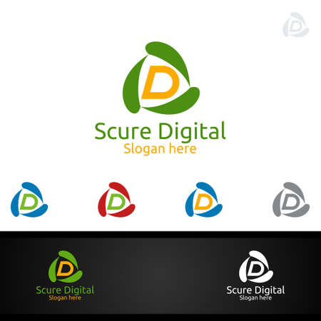 Secure Digital Letter D for Digital Marketing Financial Advisor or Invest Vector Logo Design Icon Ilustrace