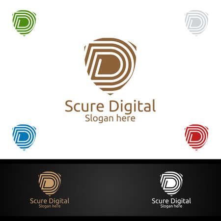 Secure Digital Letter D for Digital Marketing Financial Advisor or Invest Vector Logo Design Icon Ilustração