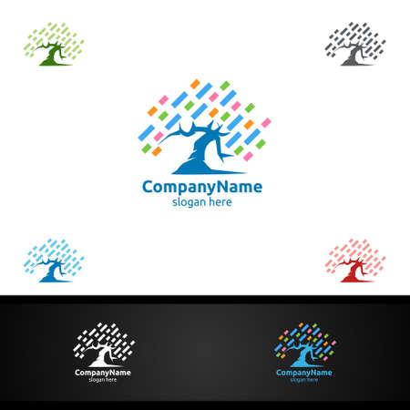 Tree Digital Agency Financial Services Insurance Business Investment Vector Logo Design Ilustração