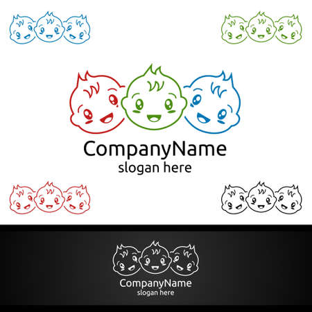 Cute Baby Smile Vector Logo Design