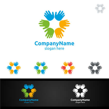 Colorful Children Hand Vector Logo Design for Education or Creative Idea