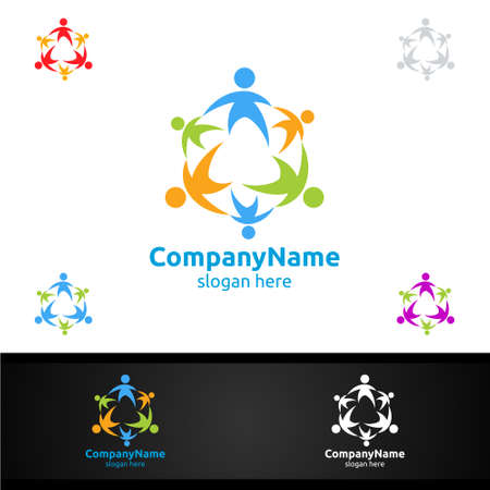 Modern and Colorful Children Education Community Vector Logo Design for Online Learning or Charity Concept