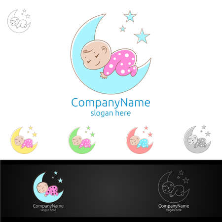 Cute Baby Sleep Vector Logo Design for Babyshop or Babystore Concept