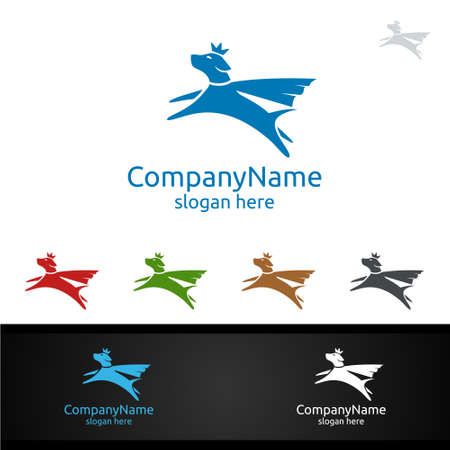 Hero Dog Vector Logo for Pet Shop, Veterinary, or Dog Lover Concept 일러스트