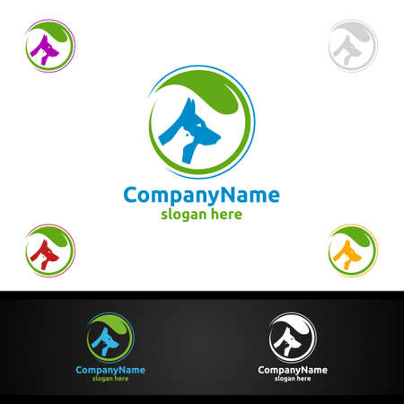 Dog and Cat Vector Logo for Pet Shop, Veterinary, or Dog and Cat Lover Concept 일러스트