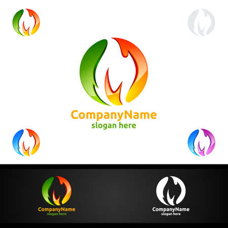 3D Fire Flame Element Vector Logo Design