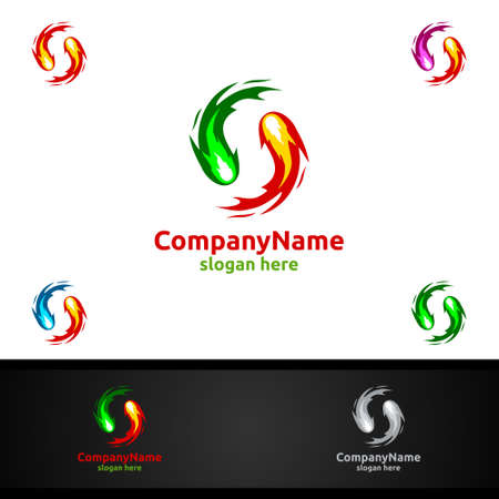 Fire and Flame with Yin and Yang  Design Concept Stock Illustratie