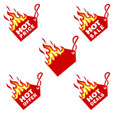 Hot Price and Hot Deal labels, Flame Tags sale promotion design template