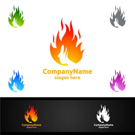 Fire and Flame with Woman Face Character Logo Design for Salon, Spa or Fashion Concept
