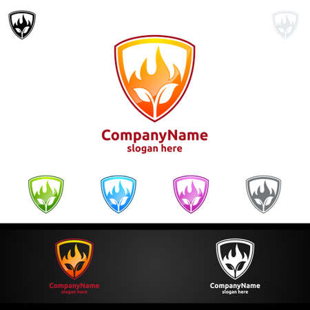Fire and Flame with leaf Logo Design Concept