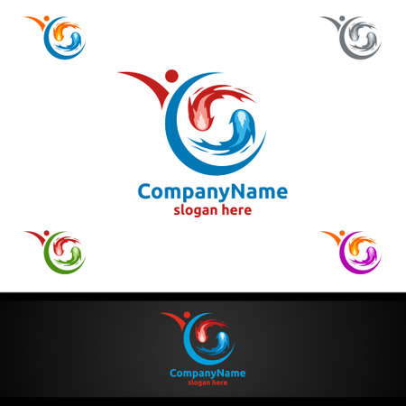 Fire and Flame with Yin and Yang Logo Design Concept