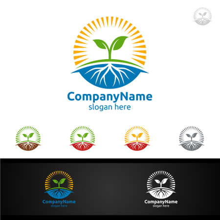 Organic Tree Logo with Leaf Sun and Root Concept for Natural Agriculture ,Farm or Gardening