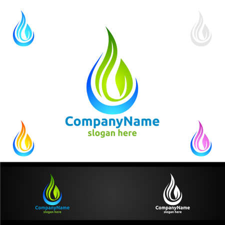 Water and Leaf Vector Logo for Natural Health Concept and Clean Water Company