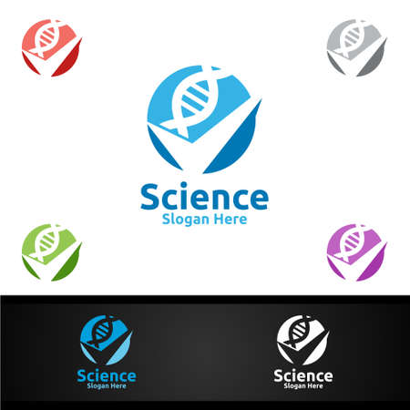 Check Dna Science and Research Lab Logo for Microbiology, Biotechnology, Chemistry, or Education Design Concept Illustration