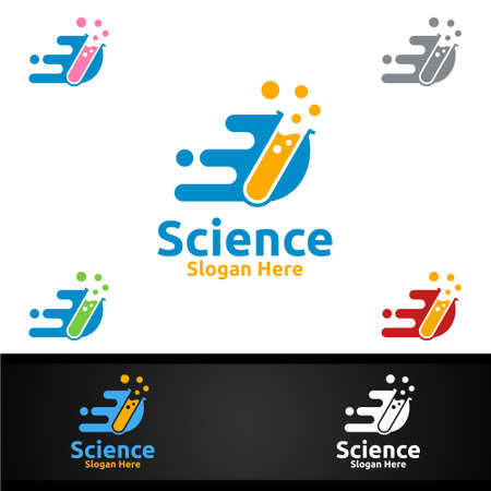 Fast Science and Research Lab Logo for Microbiology, Biotechnology, Chemistry, or Education Design Concept