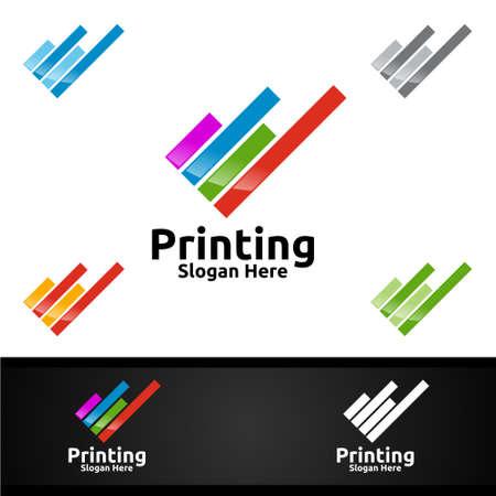 Digital Printing Company Vector Logo Design for Media, Retail, Advertising, Newspaper or Book Concept