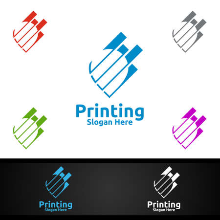 Pin Locator Printing Company Vector Logo Design for Media, Retail, Advertising, Newspaper or Book Concept