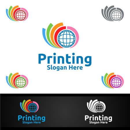 Global Printing Company Vector Logo Design for Media, Retail, Advertising, Newspaper or Book Concept
