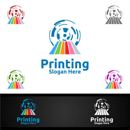 Tech Printing Company Vector Logo Design for Media, Retail, Advertising, Newspaper or Book Concept Ilustracja